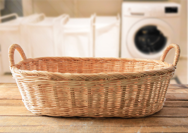 Empty wicker basket on the background laundry room  ,Template mock up for display of product
